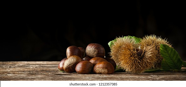 Chestnuts and chestnut bur on wooden table and black background with copy space.