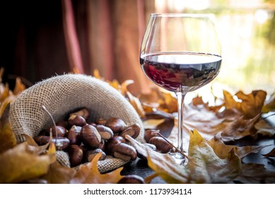 chestnuts with glass of wine