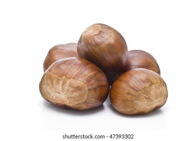 Chestnuts isolated on white background.