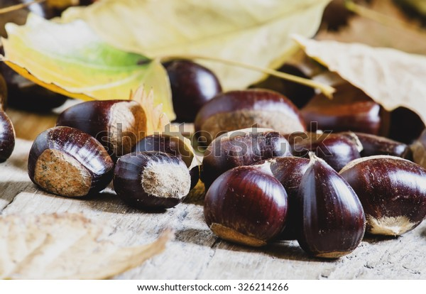 Chestnuts on an old wooden table in the autumn background, selective focus