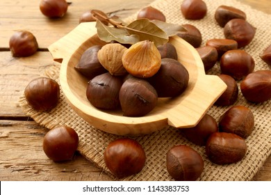 chestnuts on rustic background
