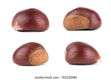 Chestnuts on white background. Isolated chestnut