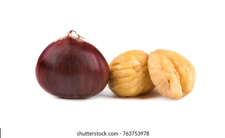 Chestnuts on white background. Isolated chestnut with clipping path