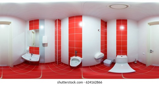 Chetcha semetria in a 360-degree photograph on an equidistant panorama inside the sports club with a view of the washroom.