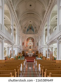 CHETICAMP, NOVA SCOTIA/CANADA - JULY 21, 2018: Interior of the historic Saint Peter's Catholic Church at 15114 Cabot Trail in Cheticamp