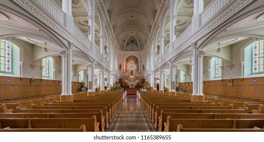 CHETICAMP, NOVA SCOTIA/CANADA - JULY 21, 2018: Panorama of the interior of the historic Saint Peter's Catholic Church at 15114 Cabot Trail in Cheticamp