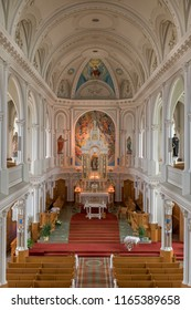 CHETICAMP, NOVA SCOTIA/CANADA - JULY 21, 2018: Altar and sanctuary in Saint Peter's Catholic Church at 15114 Cabot Trail in Cheticamp