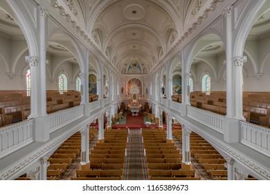 CHETICAMP, NOVA SCOTIA/CANADA - JULY 21, 2018: Interior of the historic Saint Peter's Catholic Church at 15114 Cabot Trail in Cheticamp from the balcony