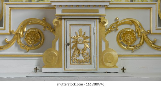 CHETICAMP, NOVA SCOTIA/CANADA - JULY 21, 2018:  Tabernacle on the altar in Saint Peter's Catholic Church at 15114 Cabot Trail in Cheticamp