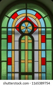 CHETICAMP, NOVA SCOTIA/CANADA - JULY 21, 2018:  Stained glass window in Saint Peter's Catholic Church at 15114 Cabot Trail in Cheticamp