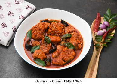 Chettinad Fish Curry or Meen Kuzhambu is a hot and spicy seafood cuisine of  Tamil Nadu cooked with curry leaves, tamarind and coconut milk or cream. Popular dish in the coastal area resturants