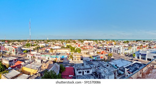 Chetumal, Mexico - April 26, 2014: panoramic view of downtown in Chetumal, Mexico. Chetumal is an important port and operates as Mexico's main trading gateway with the neighboring country of Belize.