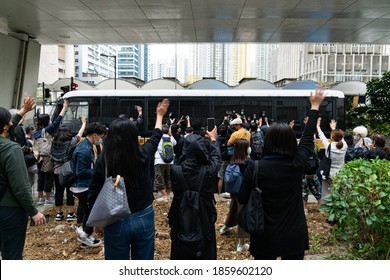 Cheung Sha Wan, Hong Kong-  23/11/2020: Joshua, Agnes, and Ivan plead guilty to their charges, and they were sent to Lai Chi Kok Reception Centre after the trial as their bail application was banned.