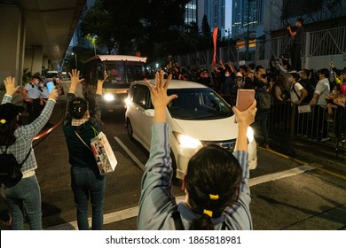 """Cheung Sha Wan, Hong Kong- 02-12-20: Gesture of """"Five demands, not one less"""" was used by supporters of Joshua, Agnes, and Ivan today. Waiting for hours to say farewell and encourage them."""