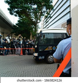 Cheung Sha Wan, Hong Kong- 02-12-20: A prison van coming out of the West Kowloon Law Court Building. Joshua, Agnes, and Ivan we're sentenced to imprisonment for last year's protest.