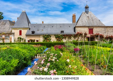 CHEVERNY, FRANCE - JUNE 10, 2015: Garden in Castle of Cheverny (Chateau de Cheverny): Large vegetable and cutting garden, which supplies chateau with flowers.