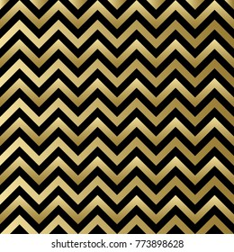 Chevron black and gold pattern. Zigzag background for Christmas design. Raster version