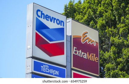 Chevron gas station in the USA - LOS ANGELES / CALIFORNIA - APRIL 20, 2017