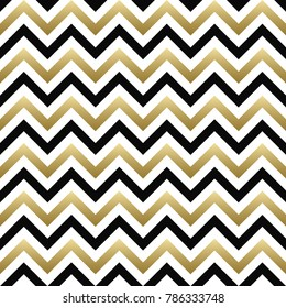 Chevron seamless pattern. Black, gold and white zigzag background. For Christmas design. Raster version