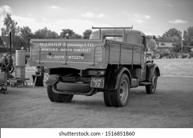 Chew Stoke, UK, September 15, 2019: Bedford Dropside Lorry, 1951, GBK 73, at the Chew Stoke Vintage Tractor and Ploughing Display 2019