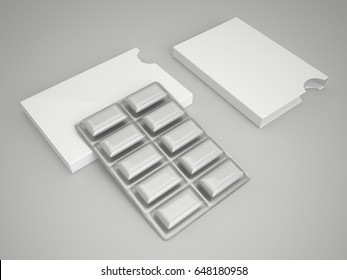 Chewing gum pack mock up, 3d illustration