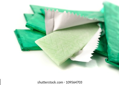 chewing gum and the wrapping foil on white