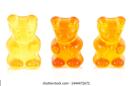 Chewing jelly candies isolated on white background. Gummy bear fruity candies.