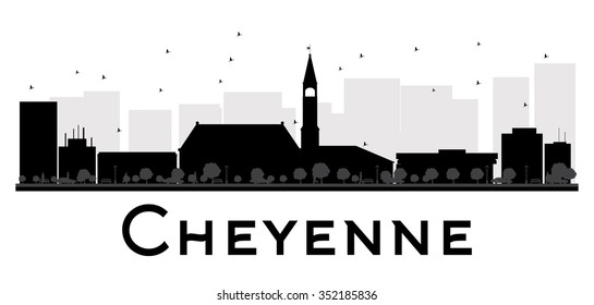 Cheyenne City skyline black and white silhouette. Simple flat concept for tourism presentation, banner, placard or web site. Business travel concept. Cityscape with famous landmarks