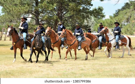 Cheyenne, WYO, USA, July 22, 2017. Buffalo Soldiers Living History Presentation at Fort D. A. Russell during Cheyenne Frontier Days Celebration.