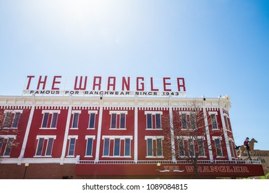 CHEYENNE, WYOMING - APRIL 27, 2018: View of The Wrangler in historic downtown Cheyenne Wyoming.  The Wrangler ranchwear store has been in business since 1943