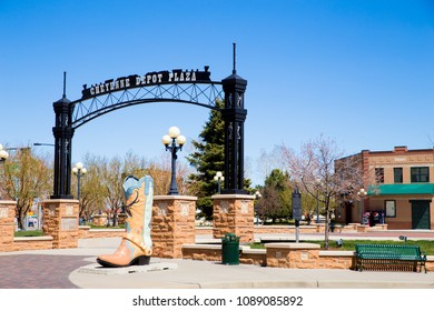 CHEYENNE, WYOMING - APRIL 27, 2018: View of historic downtown Cheyenne Wyoming.