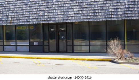 Cheyenne, Wyoming - April 27, 2019: Closed Blockbuster Video store at Cole Shopping Center.