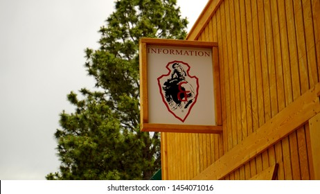 Cheyenne, Wyoming - July 2, 2019: Cheyenne Frontier Days Information building and sign at Old Frontier Town. Started in 1897, CFD is the world's largest outdoor rodeo and western celebration.