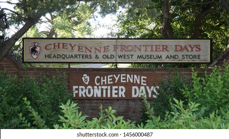 Cheyenne, Wyoming - July 2, 2019: Cheyenne Frontier Days sign at park entrance. Started in 1897, CFD is the world's largest outdoor rodeo and western celebration.