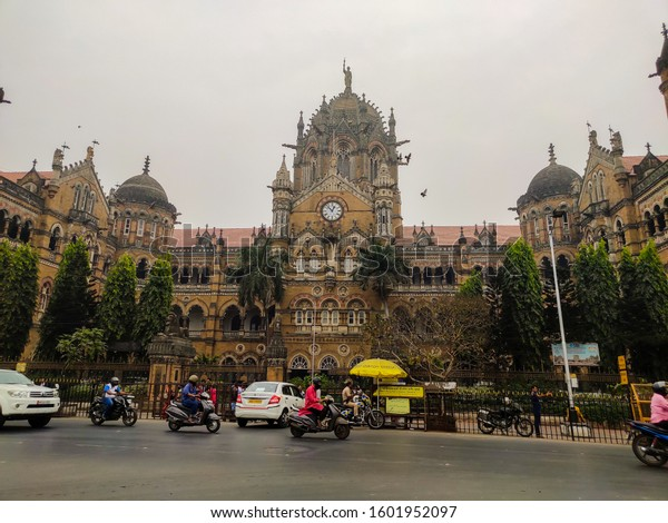 chhatrapati shivaji maharaj terminus, mumbai, maharashtra/India, 25th december, 2019: CST view in the daytime with traffic on the road