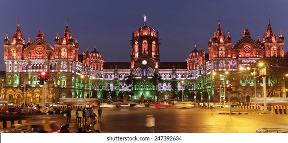 Chhatrapati Shivaji Terminus (CST) formerly Victoria Terminus in Mumbai, India is a UNESCO World Heritage Site with colourful lighting of Indian flag on Republic Day, the HQ of the Central Railway.