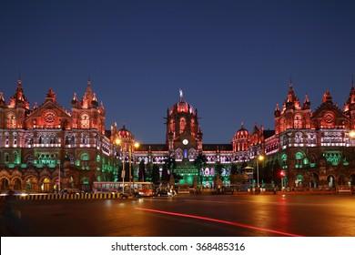 Chhatrapati Shivaji Terminus (CST) formerly Victoria Terminus in Mumbai, India is a UNESCO World Heritage Site, Circa 26 January 2016