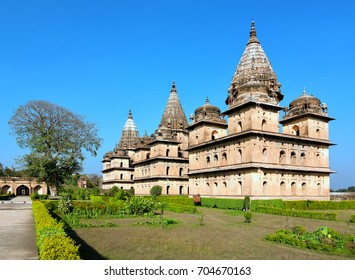 Chhatris in Orchha, India. These are memorials of the rulers of the Bundels and are laid down in a row of 14 along the beautiful banks of the Betwa River.