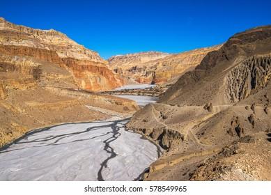 Chhusang and Kali Gandaki riverbed between Tangbe and Chhusang, Mustang, Nepal