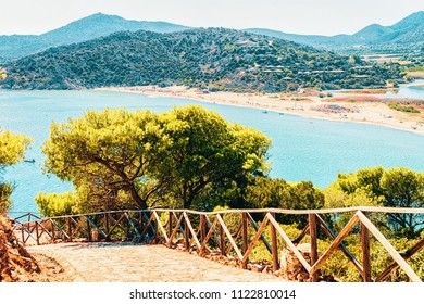 Chia Beach near Blue Waters of the Mediterranean Sea in Province of Cagliari in South Sardinia in Italy.