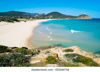 Chia beach in south of Sardinia, Italy