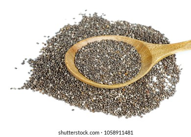 Chia (cia) seeds in wooden spoon isolated on white background