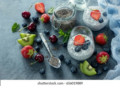 Chia pudding with berries, healthy breakfast, vitamin snack, diet and healthy eating