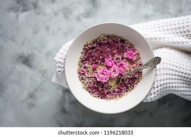 Chia Pudding Bowl with Smoothies and Roses