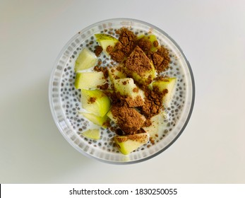 Chia pudding with cinnamon and apple. Healthy breakfast