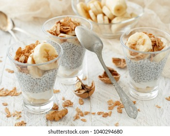 Chia pudding parfait, layered with banana and granola