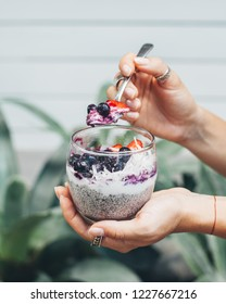 Chia pudding with a spoon