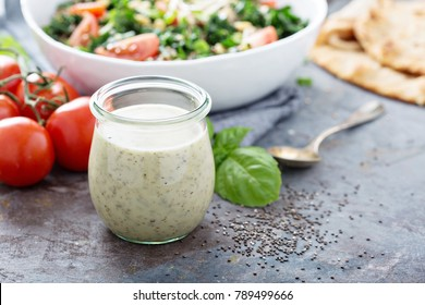 Chia seed healthy ranch salad dressing in a jar