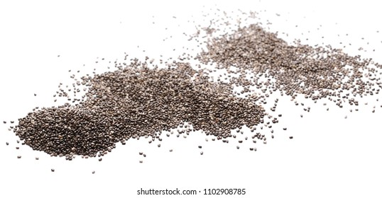Chia seed pile isolated on white background