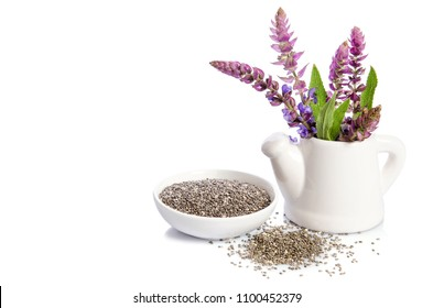 Chia seeds healthy superfood with flower isolated on white background